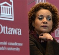 University of Ottawa Chancellor and former Governor General Michaelle Jean takes part in a press conference on campus in Ottawa on Thursday, March 6, 2014. THE CANADIAN PRESS/Sean Kilpatrick