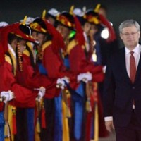 Prime Minister Stephen Harper arrives in Seoul, South Korea on Monday, March 10, 2014. THE CANADIAN PRESS/Sean Kilpatrick