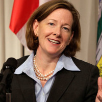 Alberta Premier Redford holds a news conference about the Keystone XL pipeline in Washington