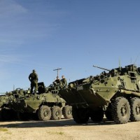 Light Armoured Vehicle III's stand by in St. Francois Xavier, Manitoba on July 9 - DND Photo Corporal Darcy Lefebvre
