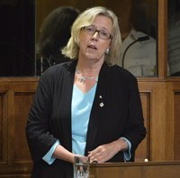 Green party leader Elizabeth May speaks in the House of Commons on October 3, 2014 in Ottawa. THE CANADIAN PRESS/Adrian Wyld