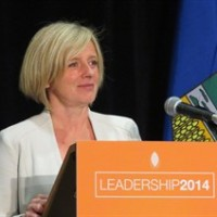 Rachel Notley speaks to supporters at the Sutton Place Hotel in Edmonton on Saturday, October 18, 2014. Notley captured 70 per cent of the vote of party members to become the new leader of Alberta's opposition NDP. THE CANADIAN PRESS/ Dean Bennett