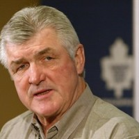 Toronto Maple Leafs head coach Pat Quinn answers questions following an optional skate in Toronto on Monday April 19, 2004. Legendary hockey coach Quinn has died at the age of 71, according to a spokeswoman at the Hockey Hall of Fame. HE CANADIAN PRESS/ /Frank Gunn)