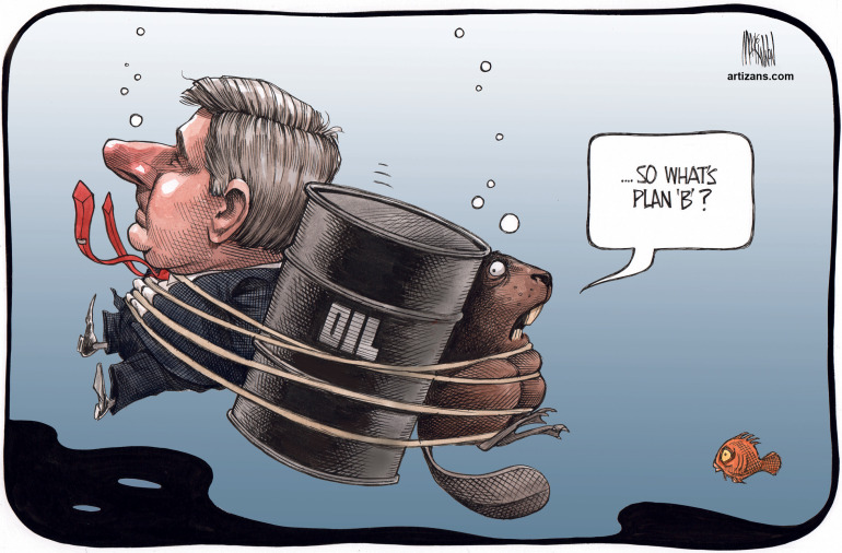 Stephen Harper and beaver sink with falling oil prices ...