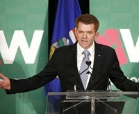 Newly elected Wildrose Leader Brian Jean speaks after winning the party leadership vote in Calgary, Alta., Sat., March 28, 2015. THE CANADIAN PRESS/Larry MacDougal