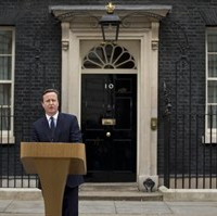 British Prime Minister David Cameron makes a speech outside 10 Downing Street in London, after arriving back from visiting Britain's Queen Elizabeth II, Monday, March 30, 2015. Today is the first day of formal campaigning for the upcoming U.K. general election, and Cameron's royal audience was to dissolve Britain's Parliament ahead of the May 7 vote. (AP Photo/Matt Dunham)