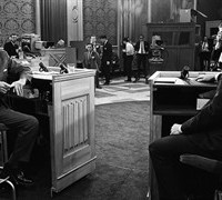 Progressive Conservative Leader Robert Stanfield, left, and Liberal Leader Pierre Trudeau share a few words at the nationally televised debate held in Ottawa June 9, 1968. THE CANADIAN PRESS/Peter Bregg