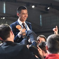 Raymond Wang, 17, of Vancouver, is celebrated by his fellow finalists for his first place win at the Intel International Science and Engineering Fair, the world's largest high school science research competition. THE CANADIAN PRESS/ho-Intel-Kathy Wolfe