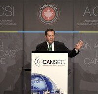 Minister of National Defence Jason Kenney speaks during a luncheon at the Canadian Association of Defence and Security Industries CANSEC trade show in Ottawa on Wednesday, May 27, 2015. THE CANADIAN PRESS/Justin Tang