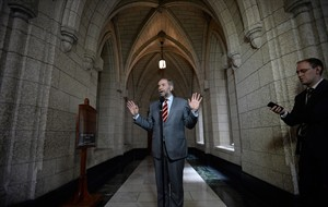 NDP Leader Thomas Mulcair speaks to reporters following a caucus meeting on Parliament Hill in Ottawa on Wednesday, May 13, 2015. THE CANADIAN PRESS/Sean Kilpatrick