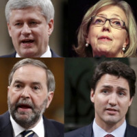 May Mulcair Harper Trudeau 2