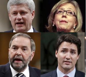 May Mulcair Harper Trudeau 2