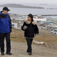 Conservative Leader Stephen Harper and local candidate Leona Aglukkaq take a walk in Iqaluit, Nunavut on Saturday, Sept. 20, 2008. THE CANADIAN PRESS/Paul Chiasson