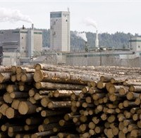 FILE -- Logs are piled up at West Fraser Timber in Quesnel, B.C., Tuesday, April 21, 2009. One of Canada's most protected industries ??? British Columbia timber ??? has been targeted by Japan in the massive Trans-Pacific Partnership trade talks, The Canadian Press has learned. THE CANADIAN PRESS/Jonathan Hayward