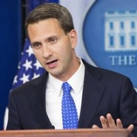 Deputy press secretary Eric Schultz speaks to the media during the daily briefing in the Brady Press Briefing Room of the White House in Washington, Wednesday, July 29, 2015.(AP Photo/Pablo Martinez Monsivais)