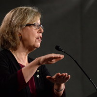 Green Party Leader Elizabeth May speaks during a press conference on Parliament Hill in Ottawa on Monday, March 30, 2015, to call for 60 amendments to Bill C-51. THE CANADIAN PRESS/Sean Kilpatrick