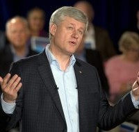 Conservative leader Stephen Harper speaks to supporters while campaigning Tuesday, September 15, 2015  in North Vancouver.THE CANADIAN PRESS/Ryan Remiorz