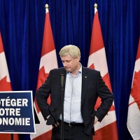 Conservative leader Stephen Harper speaks to the media during a campaign stop Montreal Que., on Saturday, October 3, 2015. (Nathan Denette/CP)