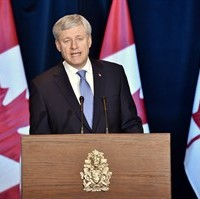 Prime Minister Stephen Harper speaks about the Trans-Pacific Partnership trade deal at a press conference in Ottawa on Monday, October 5, 2015. Twelve nations, including Canada, have reached a tentative deal on the so-called Trans-Pacific Partnership - a massive Pacific Rim trading bloc billed by Prime Minister Stephen Harper as the largest-ever deal of its kind. THE CANADIAN PRESS/Nathan Denette