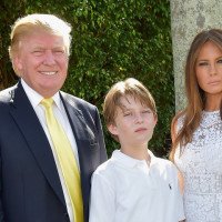 PALM BEACH, FL - JANUARY 04:  Donald Trump, Barron Trump and Melania Trump attends Trump Invitational Grand Prix Mar-a-Lago Club at The Mar-a-Largo Club on January 4, 2015 in Palm Beach, Florida.  (Photo by Gustavo Caballero/Getty Images)
