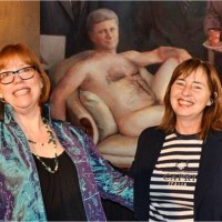 UPLOADED BY: Jana Pruden ::: EMAIL: jpruden@edmontonjournal.com ::: PHONE: 780-907-7428 ::: CREDIT: Danielle Potvin  ::: CAPTION: Artist Margaret Sutherland and Danielle Potvin with Sutherland's controversial painting, Emperor Haute Couture.