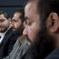 Abdullah Almalki (left), Muayyed Nureddin and Ahmad El Maati comment on the release of the Internal Inquiry Report into the Actions of Canadian Officials in Relation to Abdullah Almalki, Ahmad El Maati and Muayyed Nureddin in Ottawa,  Tuesday Oct.21, 2008. The actions of Canadian officials contributed indirectly to the torture of the three Arab-Canadian men in Syria, a federal inquiry concludes. THE CANADIAN PRESS/Adrian Wyld