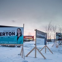 Election signs are shown in Yellowknife on Monday, Nov. 23, 2015. Voters in the Northwest Territories head to the polls Monday, Nov. 23 for a general election. THE CANADIAN PRESS/James MacKenzie