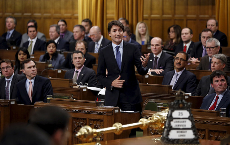 Canada's Prime Minister Justin Trudeau speaks during Question Period in the House of Commons on Parliament Hill in Ottawa, Canada, January 25, 2016. (Chris Wattie/Reuters)