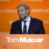 NDP Leader Tom Mulcair speaks to supporters, Monday, Oct. 19, 2015 in Montreal. THE CANADIAN PRESS/Ryan Remiorz