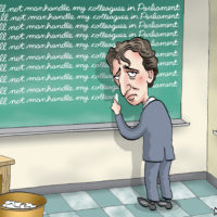 Justin Trudeau writes lines on chalkboard after misbehaving in Parliament