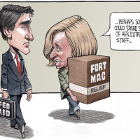 Overworked Rachel Notley wonders if Sophie Gregoire could spare some of her extra staff