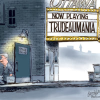 Stephen Harper departs from rear stage door after Trudeaumania opens