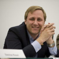 Brad Trost, Conservative party candidate for Saskatoon-Humboldt, smiles at a candidate's forum at the University of Saskatchewan in Saskatoon, on Thursday, April 21, 2011. Trost told an anti-abortion group on the weekend that International Planned Parenthood Federation has been denied Canadian funding because it supports abortion, stirring up some controversy on the federal election campaign. THE CANADIAN PRESS/Liam Richards