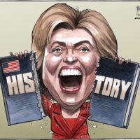 Democratic party nominee, Hillary Clinton, tears up HIStory
