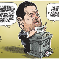 Jason Kenney campaigns for Alberta Tory leadership on grave of Jim Prentice