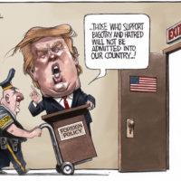Xenophobic Donald Trump is shown U.S. exit
