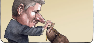 Departing Stephen Harper places rose-colored glasses on Canadian beaver