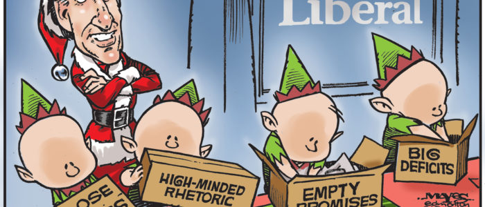 Santa Justin Trudeau uses little helpers to deliver empty promises