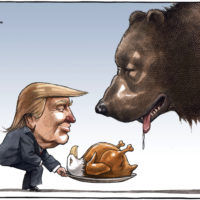 Donald Trump serves cooked American eagle to Russian bear - Color