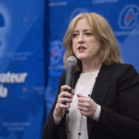 Candidate Lisa Raitt addresses a Conservative Party leadership debate Monday, February 13, 2017 in Montreal. THE CANADIAN PRESS/Paul Chiasson