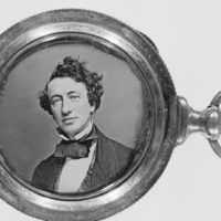 1845-1850 - Locket containing photograph of Sir John A. Macdonald. Measuring 28 mm in diameter in a locket measuring 37 mm in diameter.(CP PHOTO) 1998 (National Archives of Canada) PA-121571