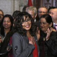 Liberal MP Iqra Khalid is welcomed by her colleagues as she arrives to make an announcement about an anti-Islamophobia motion on Parliament Hill in Ottawa on Wednesday, February 15, 2017. THE CANADIAN PRESS/ Patrick Doyle