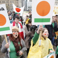 A group of young people demonstrate against government cuts to Katimavik a national youth volunteer traing program, on Parliament Hill in Ottawa Monday April 23, 2012 THE CANADIAN PRESS/Fred Chartrand