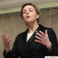 Conservative leadership candidate Kellie Leitch speaks at Queen's University in Kingston, Ontario, on Monday March 20, 2017. THE CANADIAN PRESS/Lars Hagberg
