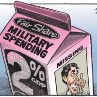 'Military Spending' milk displays picture of missing Justin Trudeau
