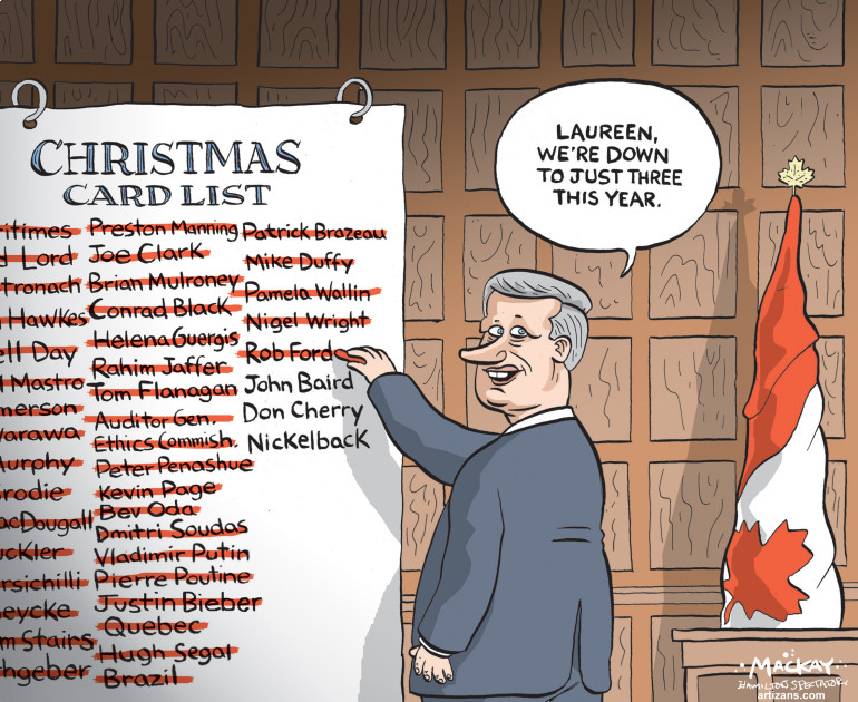 Stephen Harper crosses more names off his Christmas card list ...