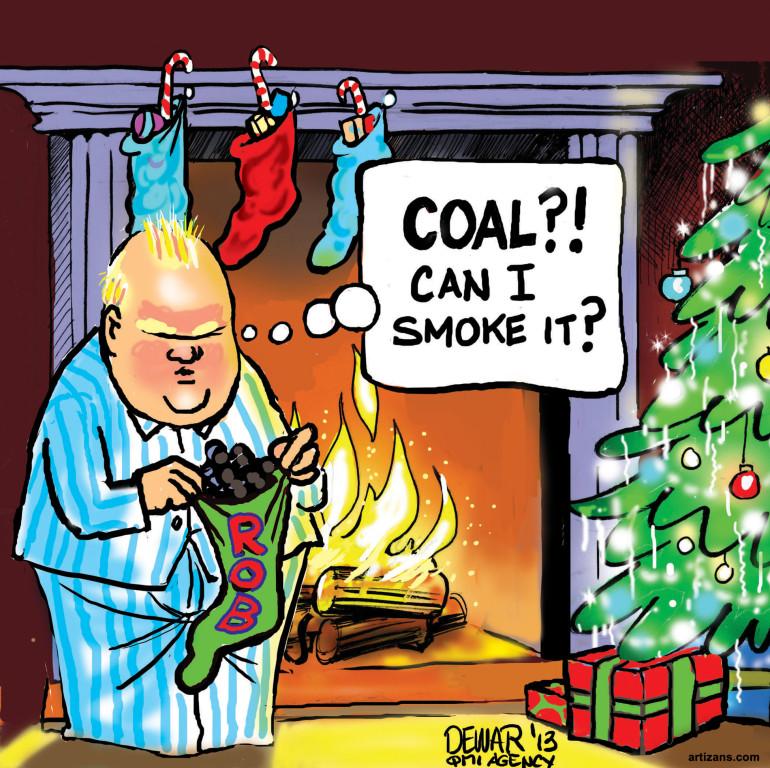 Rob Ford Contemplates Smoking Coal He Got For Christmas