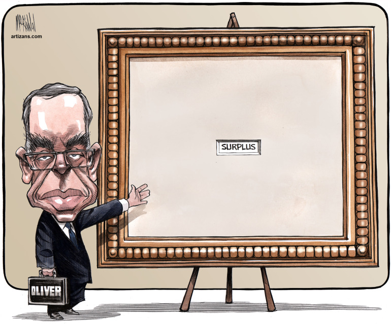 Joe Oliver Shows Off Tiny Surplus In Huge Picture Frame National