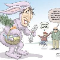 Justin Trudeau delivers marijuana legislation dressed as Easter Bunny