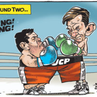 Brian Jean and Jason Kenney fight wearing same 'UCP' boxing trunks